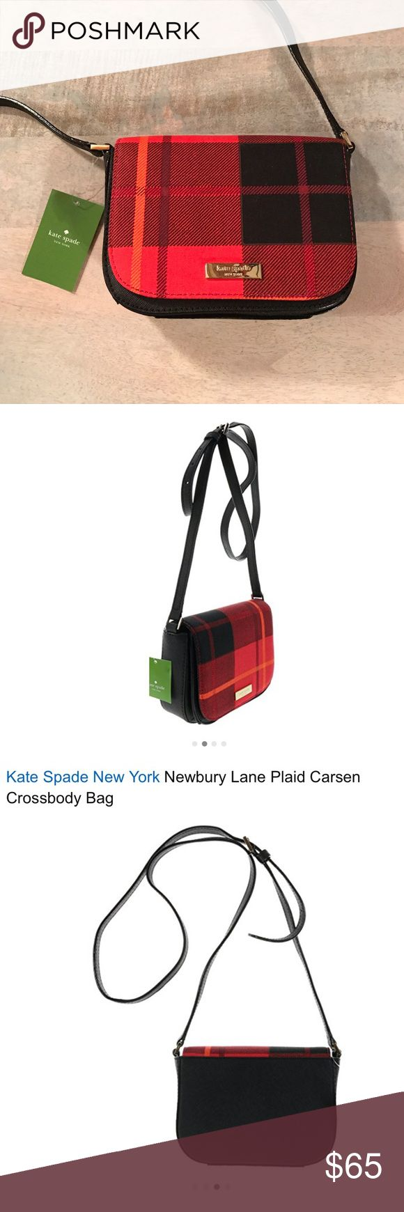 NWT Kate Spade Plaid Carsen Crossbody Bag New with tags authentic Kate Spade Newbury Lane plaid Carsen crossbody bag.  Saffiano leather bag with cloth front flap magnetic snap closure and gold toned hardware.  Front has engraved raised Kate Spade nameplate.  Adjustable strap with maximum drop of approx. 23.5 inches Fabric lined interior features front full length slip pocket; Main compartment has 1 slip pocket Approx. dimensions: 7 inches (L) x 5 inches (H) x 2.5 inches (W) kate spade Bags