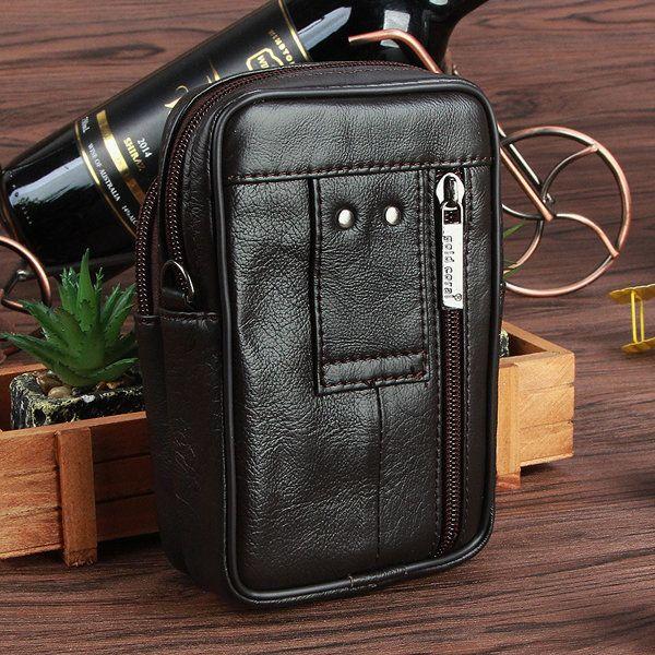 Multi Pocket Genuine Leather Waist Bag 5.3'' Casual Sling Bag Crossbody Bag For Men  #men #women  #bags #fashion