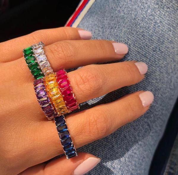 Gold Eternity Ring Colorful Baguette Cut CZ Stone Rainbow Band Ring