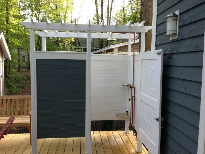 Vinyl Outdoor Shower Enclosure Kits Enclosures Best Ideas On Large Curtains Showers And Bathrooms Pin Outdoor Shower Outdoor Shower Enclosure Outdoor Bathrooms