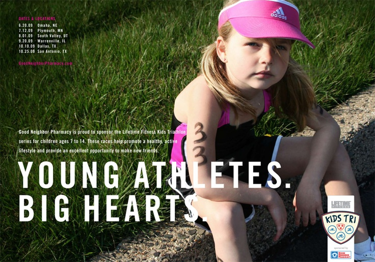 "This image is desinged for parents, it suggest that it will help the children to become a champion in sports. The slogan ""Young athletes, big hearts"" suggest that even the young children has the dream to their success. Which would make a lot of parents want to send their children to get get trained. The emotion on the girl's face seems to appear on an adult's face where no pleasure and childish expressions are found."