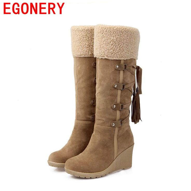 Egonery Personality Novelty Wedges Heels Boots Autumn Winter For Women Black Red Yellow Snow Boots Sexy Ankle Boots Casual Shoes