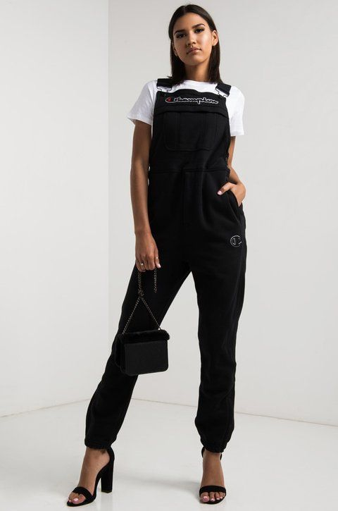 154a6b8d17 Champion Women s Thick Fleece Embroidered C Overalls in Black