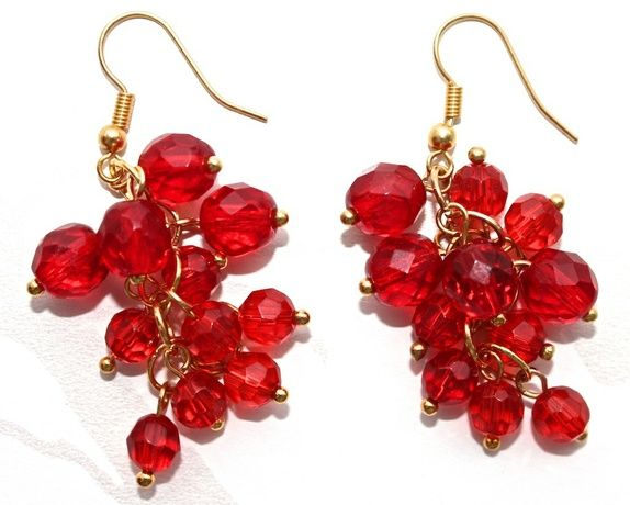 Glass pearl cluster earrings in red