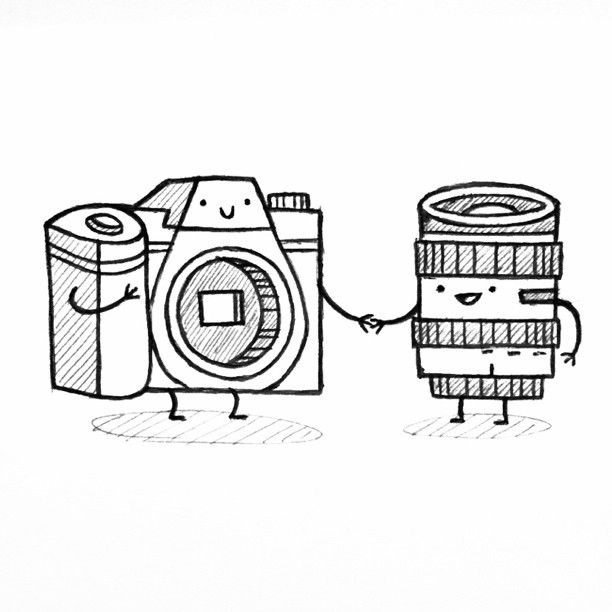 you complete me      because I am a total photography / camera nerd.  [image: sketch of a camera and alensholding hands with caption...