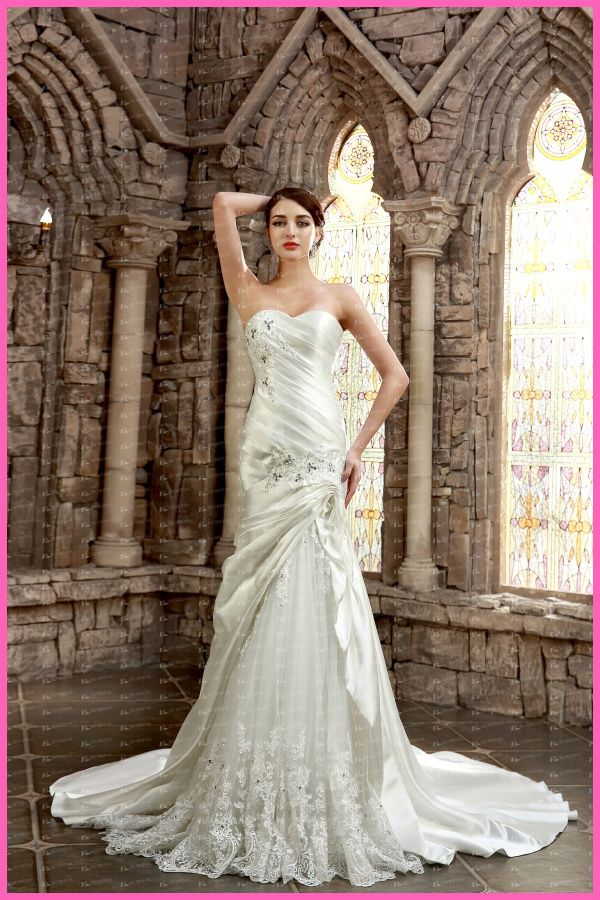 Best ED YH Alibaba China Supplier Sheath Ruffled Lace Wedding Dresses for Sale