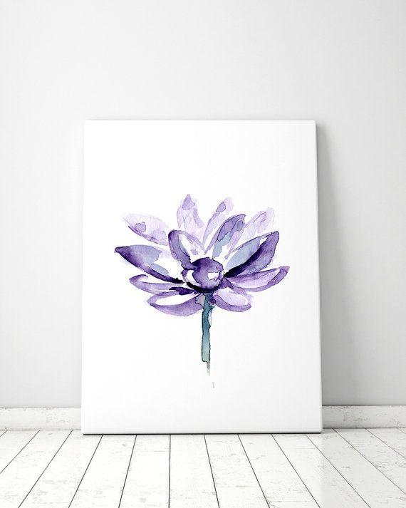 Lila Lotus schilderij  Aquarel Lotus  paarse Bloem  door Zendrawing