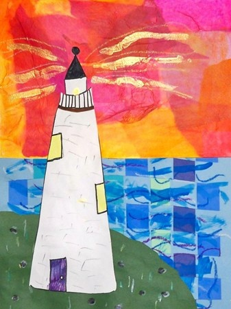 2nd grade lighthouse collage Even though I couldn't find photos of a lighthouse at Meteghan, there are certainly lots near there and I love the tissue paper effects in this!