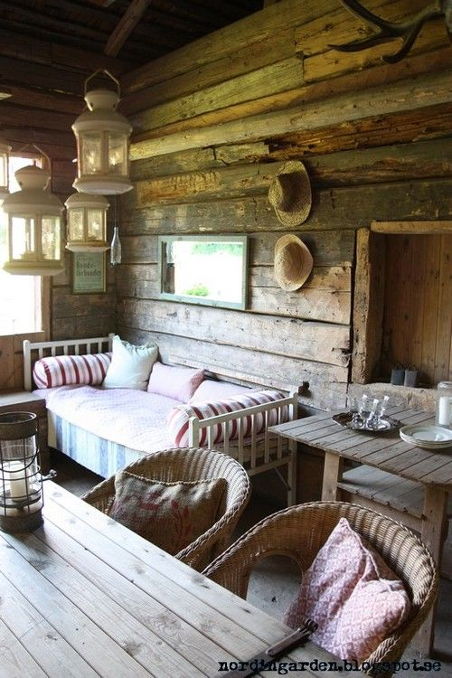 wood give this an outdoor feel while still feeling comfy like an inside space