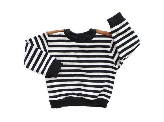 Black Striped Sweater with Shoulder Patch / Kids by littletrojan