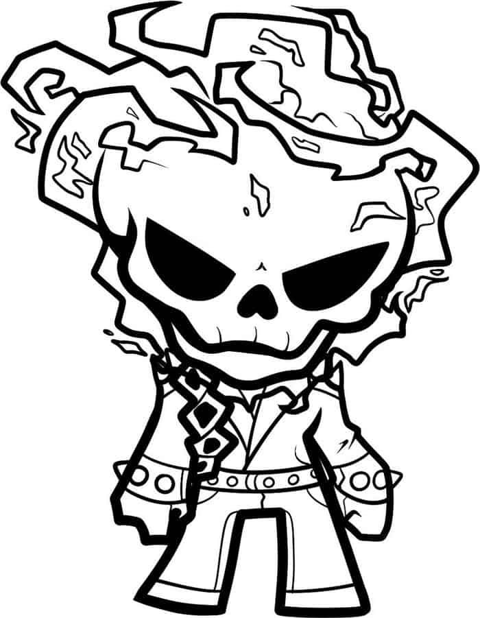 Free Coloring Pages Chibi Ghost Rider In 2020 Ghost Rider Tattoo Coloring Pages Ghost Rider Drawing
