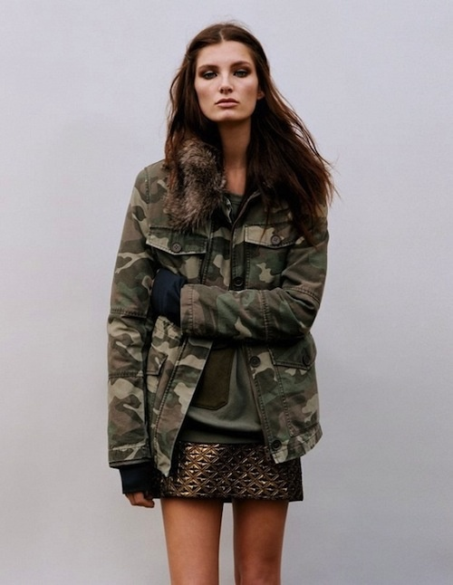 mixed military + sequin skirt