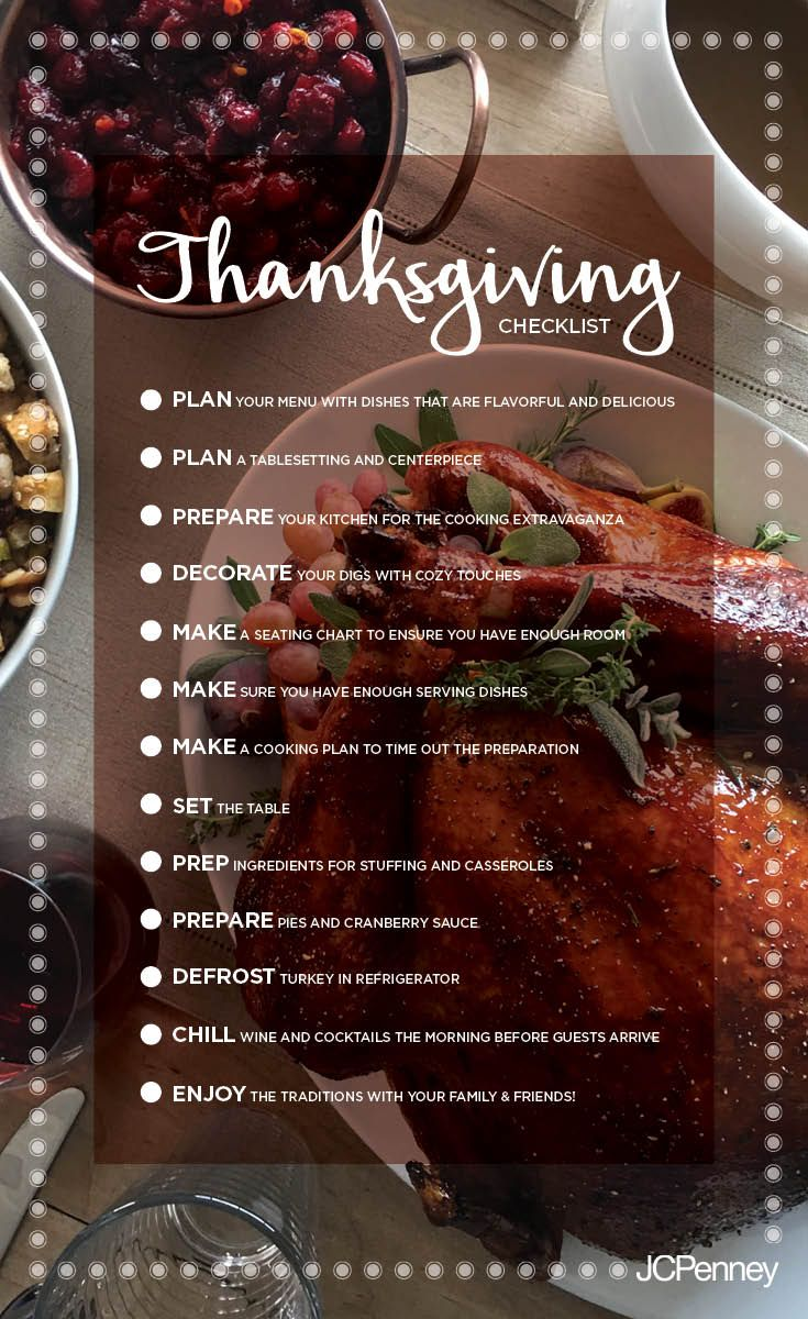 With all the things to do and family to see for Thanksgiving, it's easy to get overwhelmed. But if you keep this checklist handy, you won't forget a thing. From planning and preparing to decorating and enjoying, this Thanksgiving checklist truly covers it all. Pin it in now so when it's time, you'll be ready-set-gobble!
