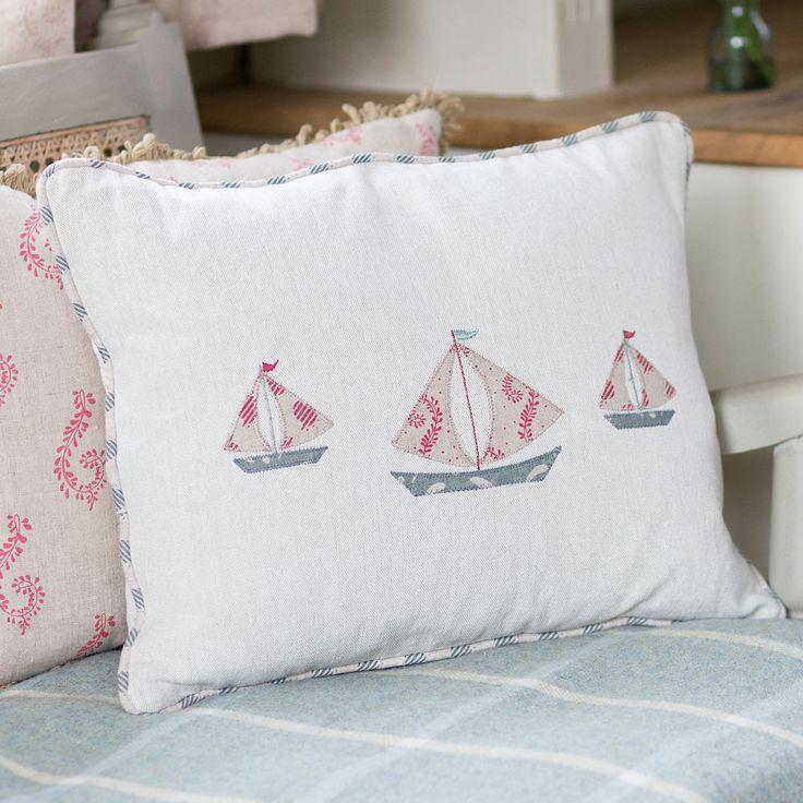 Boat Cushion - Red Linen Applique | Susie Watson Designs