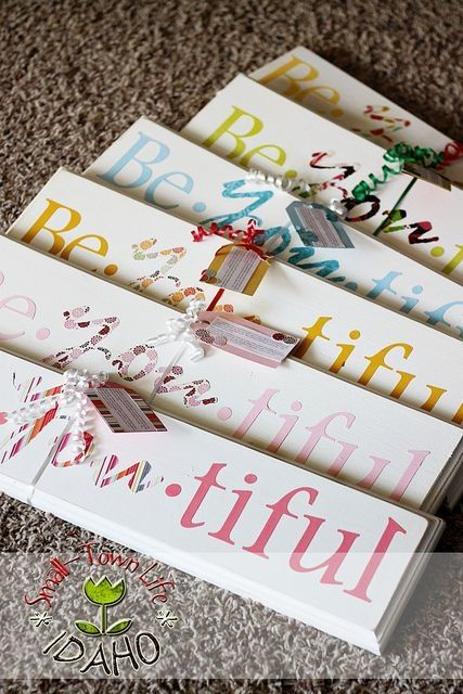 Be * YOU * tiful signs ... wood, paint, paper letters, and modge podge.  Camp Craft or YW Activity. Gift for New Beginnings, Young Women in Excellence. by Trisha Barlow Riding