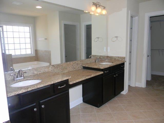 The Wakefield Master Bathroom Timberlake Tahoe Maple Espresso Cabinets Giallo Ornamental Granite Brixton Mushroom Tile With Quartz Grout