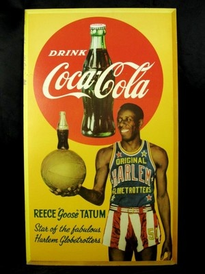 COCA COLA COKE 1952 ORIG HARLEM GLOBETROTTERS  GOOSE TATUM Vertical Display Sign
