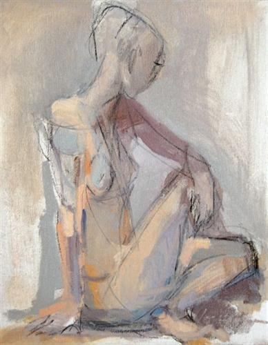 untitled figure, by kate long stevenson  11X14  oil + charcoal on canvas  Sold