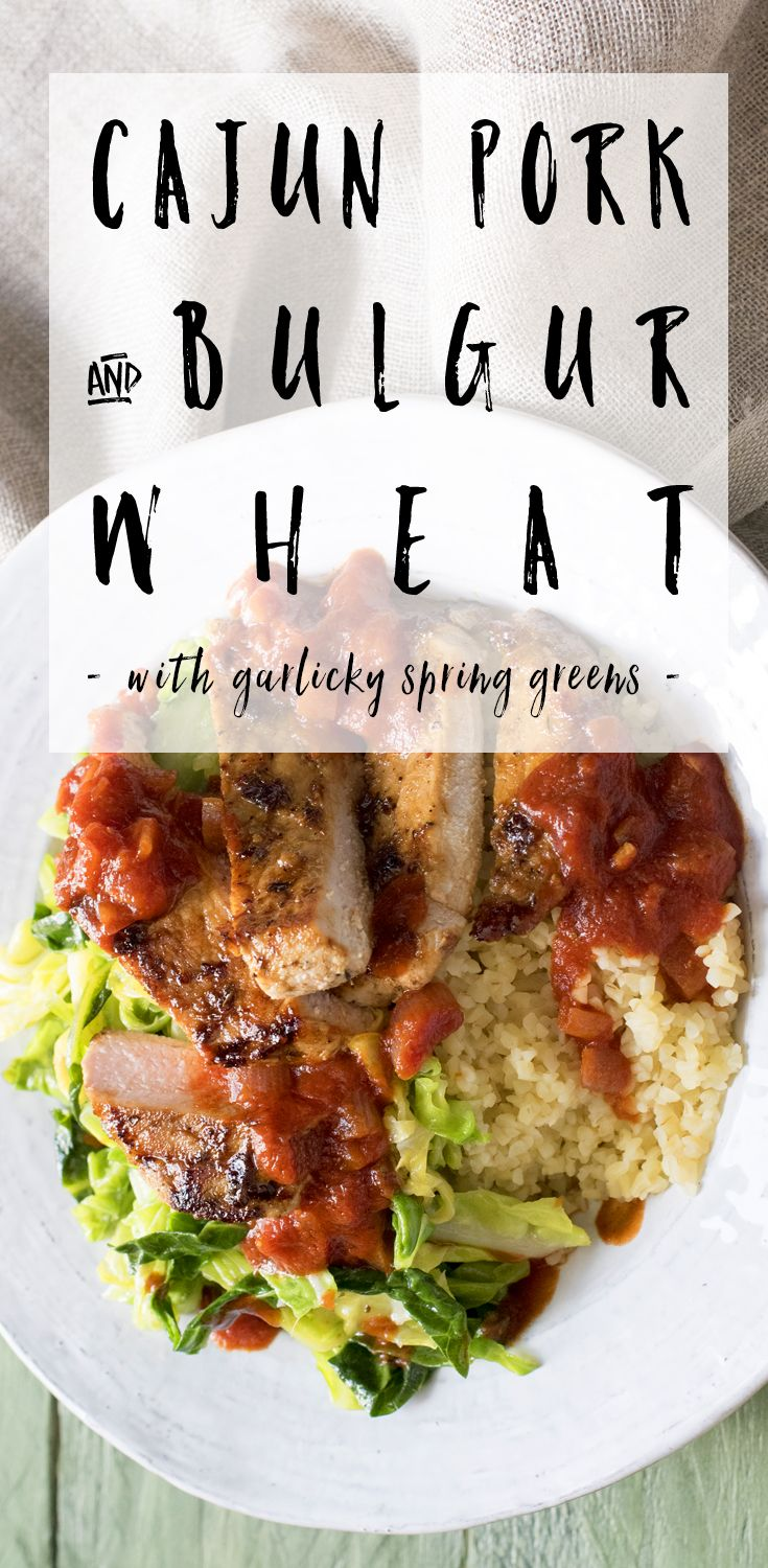 Earthy bulgar wheat, rich Cajun pork and some simple garlicky Spring Greens come together to make a delicious mid-week feast.  Easy to make and so delicious! Made using our @HelloFreshUK box! #BreakTheRoutine #ad