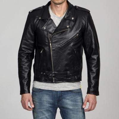 $119, Black Leather Biker Jacket by Amerileather. Sold by Overstock. Click for more info: http://lookastic.com/men/shop_items/59952/redirect