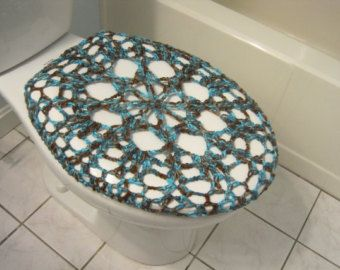 Cubierta de asiento de tocador de ganchillo turquesa por ytang