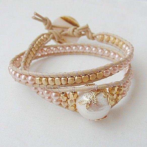 Pearl beads leather wrap bracelet