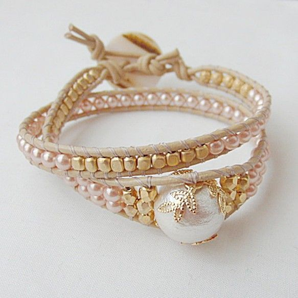Pearl beads leather wrap bracelet
