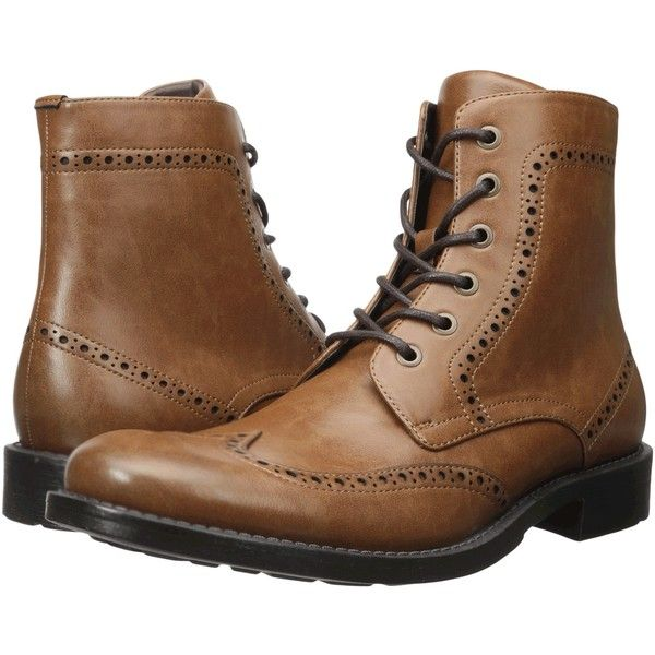 Kenneth Cole Unlisted Blind-Sided (Cognac) Men's Lace-up Boots ($60) ❤ liked on Polyvore featuring men's fashion, men's shoes, men's boots, tan, mens tan boots, mens wingtip shoes, mens tan shoes, mens lace up shoes and mens cognac dress shoes
