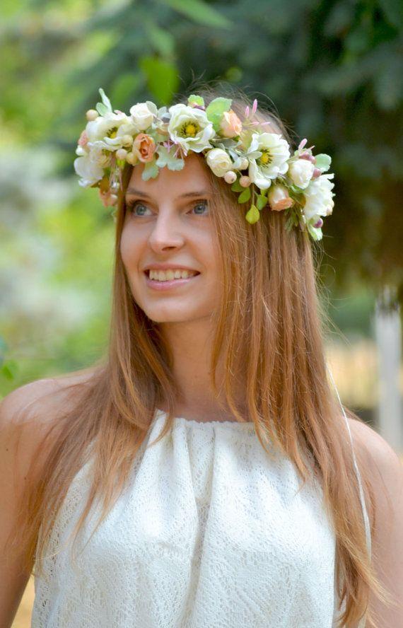 White peach floral crown Wedding flower crown Anemone by Vualia