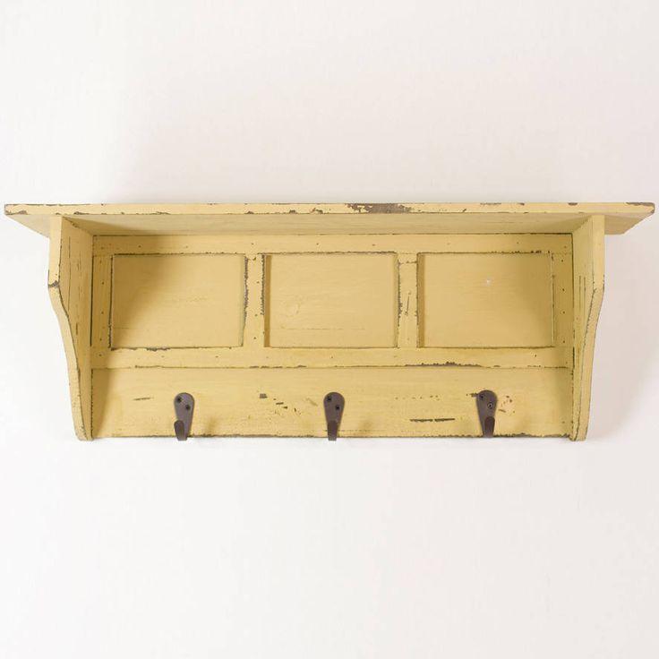 reclaimed wood hall hook wall shelf
