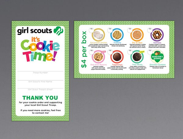 Girl Scout Troop wanted a business card that they could pass out to potential customers while protecting the girl's last name and using the troop email for safety.