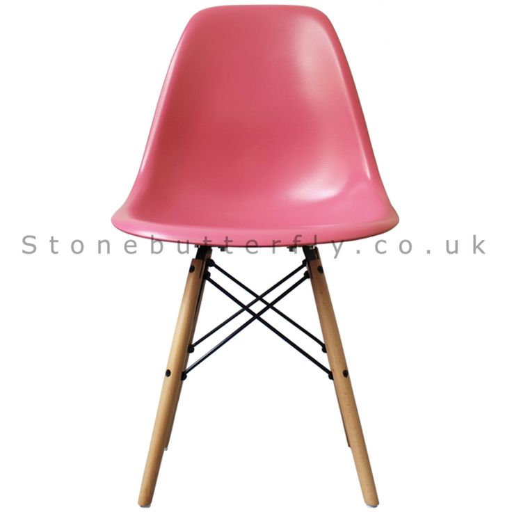 Charles Ray Eames Style DSW Side Chair Natural legs - Pink