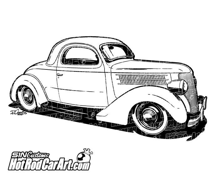 sc 1 st  Pinterest & 1936 Ford Coupe hot rod - Clip Art | Cars Drawings and Coupe markmcfarlin.com