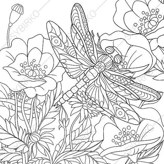Dragonfly And Poppy Flowers Coloring Page By ColoringPageExpress