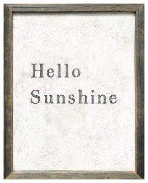 'Hello Sunshine' Vintage Reclaimed Wood Wall Art - transitional - Prints And Posters - Kathy Kuo Home