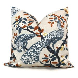 Robert Allen DwellStudio Pillow Cover Plume Redux Midnight Plume Redux Midnight, Blue Peacocks shades of umber, white on a taupe background