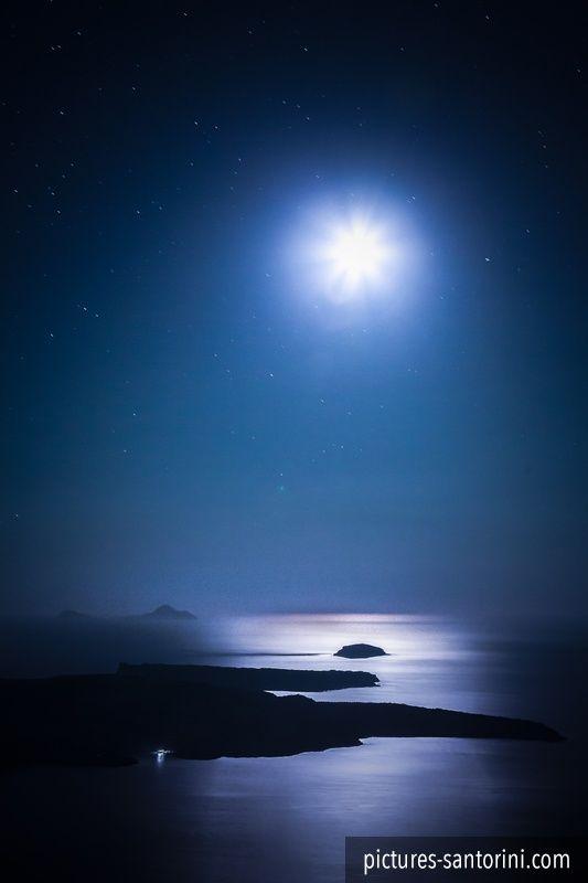 Santorini's Caldera in the moonlight. #santorini #greece #moon #caldera #night #stars