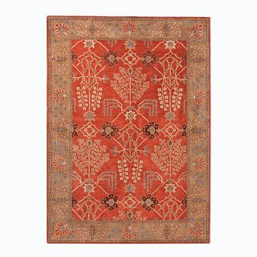 Floral Border Wool Rug - Burnt Ochre #westelm