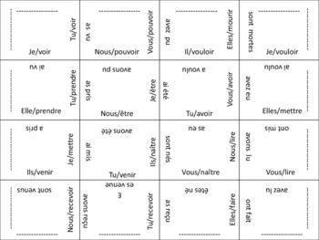 FREE-French Passe Compose (Irregular Past Participles) Puzzle Activity