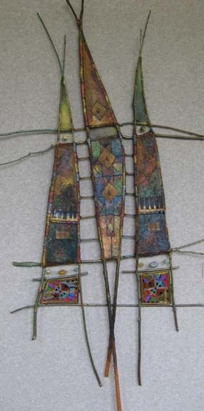 """Veil of Silent Conversations  35"""" x 74""""  sticks, paper, paint & pastel yarn/beads on beeswax/pine resin"""