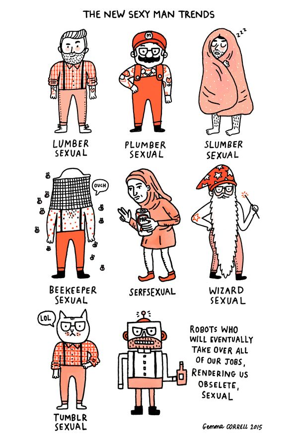 New Sexy Man Trends via: gemma correll's tumblr of things and stuff.