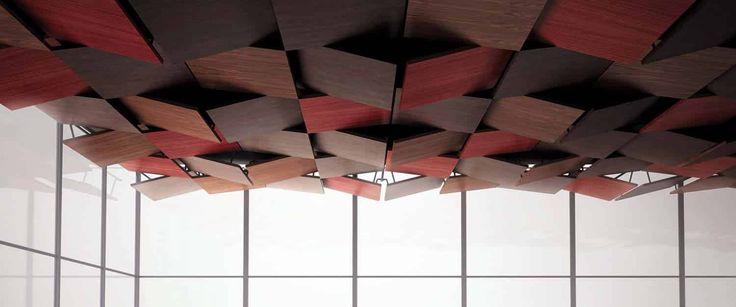 L'entreprise française Oberflex® se distingue par la plus large offre de stratifiés bois au monde. Véritable référence dans le domaine de la décoration et de l'architecture, avec une palette exponentielle de panneaux décoratifs, c'est tout naturellement que la société s'est intéressée aux plafonds, avec la collection Tectonique imaginée par 5.5 Design Studio. ©Oberflex®