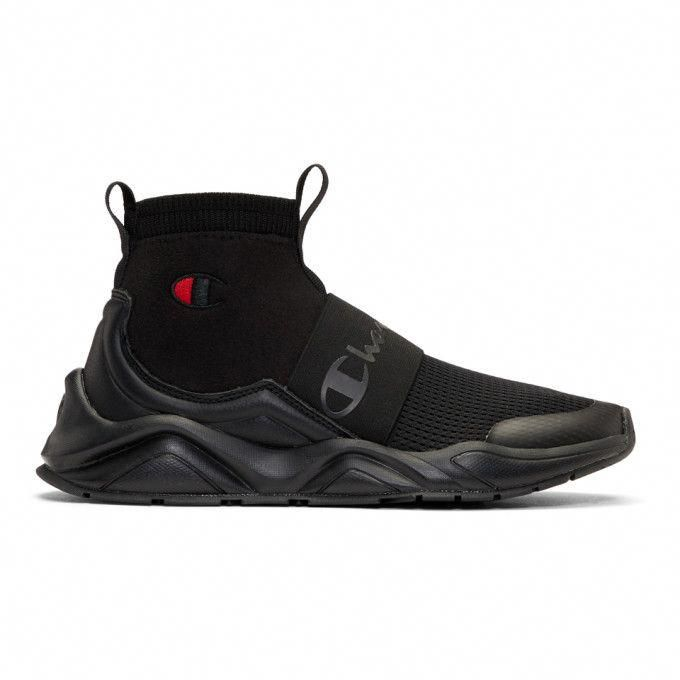 CHAMPION Black Rally High,Top Sneakers. champion shoes