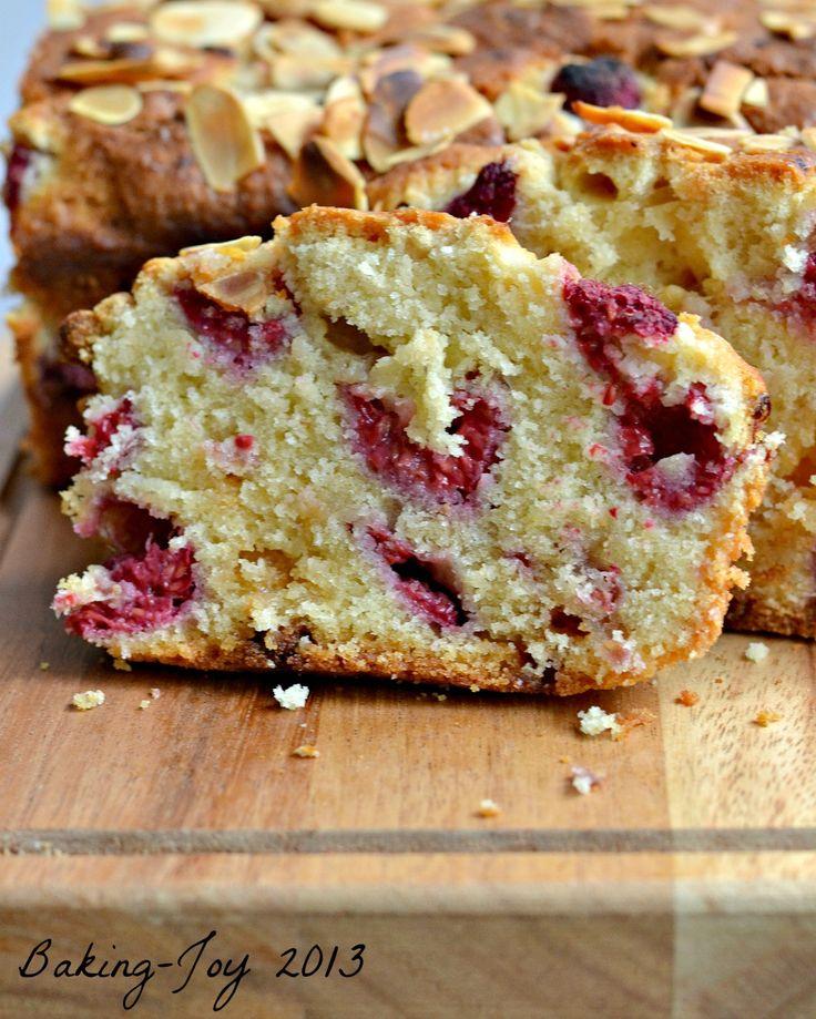 Raspberry and white chocolate almond cake 10