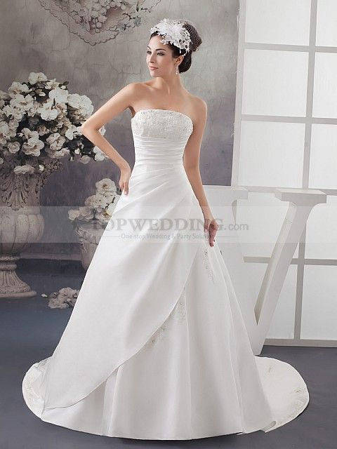 Princess Cut Strapless Satin Wedding Gown With Appliqued Bust