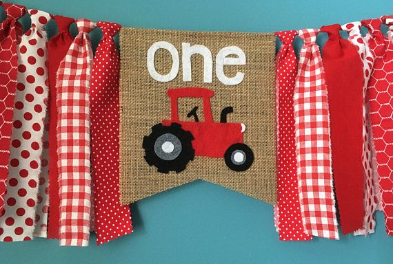 Red Tractor high chair banner party banner Birthday Banner