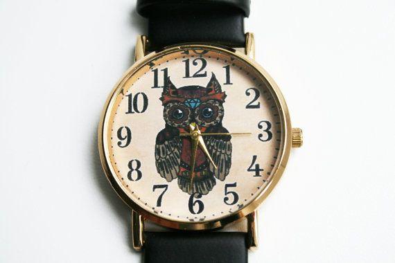 Owl Watch Leather Watchwristwatch Women Watch by SovietCrimea