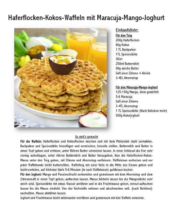 Frühstückswaffeln mit Maracuja-Mango-Joghurt | Das Knusperstübchen