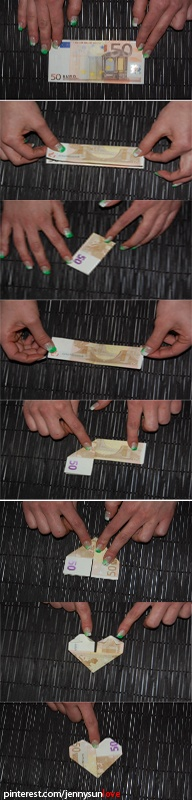 built a heart with a banknote (origami)