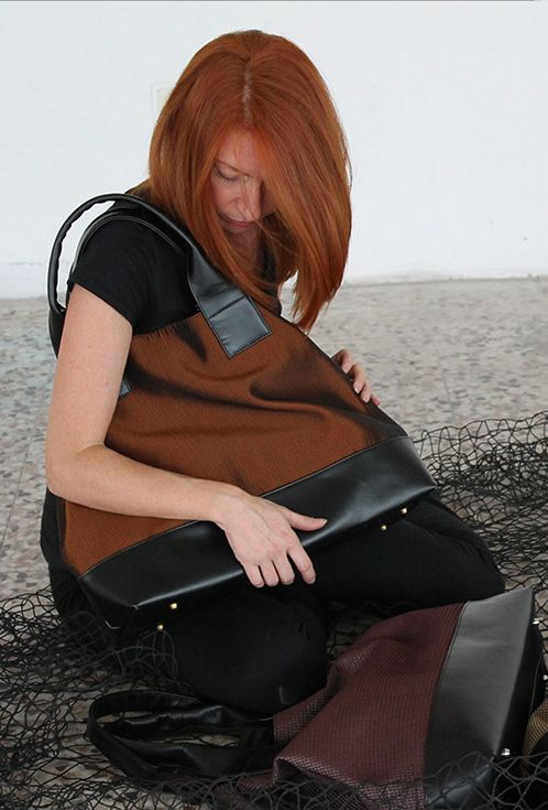 Unique one-off Tote Bag Farida Fire at Sunset. Italian Handmade craftsmanship. Top quality leather and pioneering technical canvas. Visit the shop